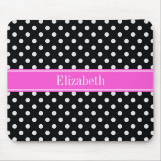 Black and White Polka Dots Hot Pink Name Monogram Mouse Mat
