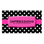 Black and White Polka Dots Hot Pink Name Plate Pack Of Standard Business Cards