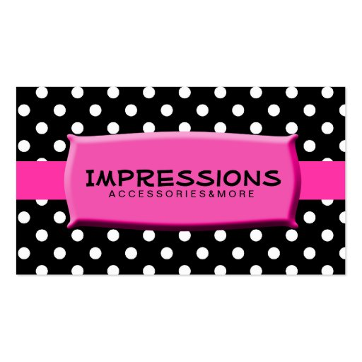 Black and white polka dots hot pink name plate business for Polka dot business card templates free