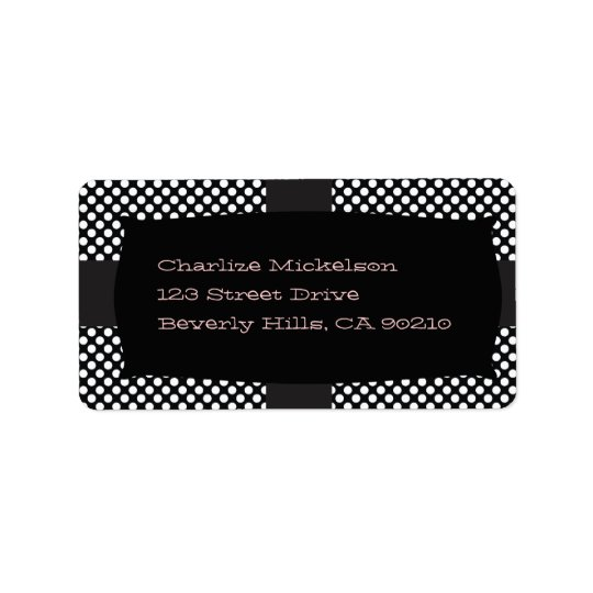 Black and White Polka Dots Label