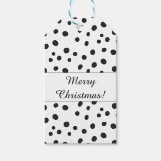Black and White Polka Dots Merry Christmas Gift Tags