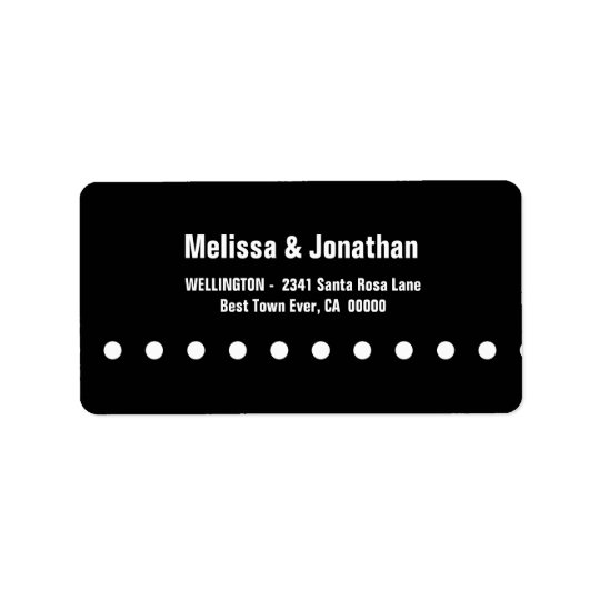 Black and White Polka Dots Modern V04 Address Label