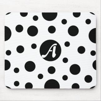 Black and White Polka Dots Monogram Mousepad