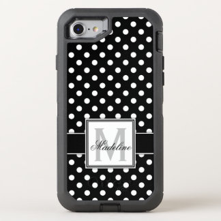 Black and White Polka Dots Monogrammed OtterBox Defender iPhone 8/7 Case