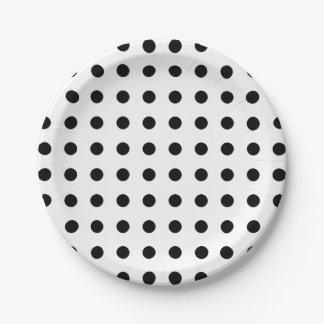 Black and white polka dots paper plates