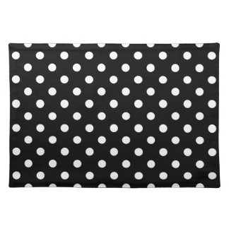 Black and white polka dots pattern cloth placemats