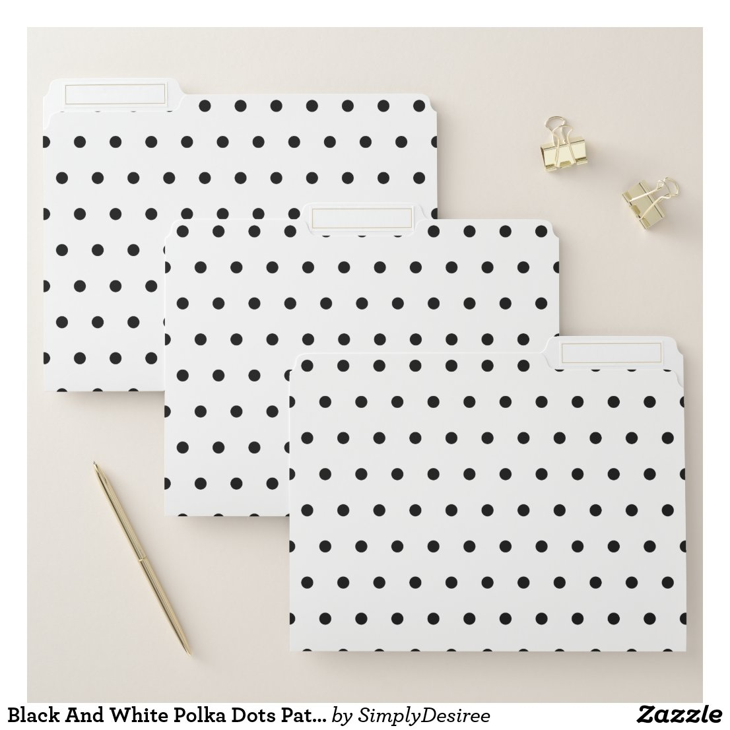 Black And White Polka Dots Pattern File Folder
