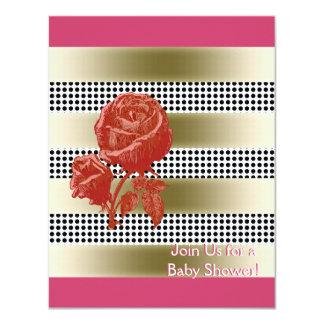 Black and White Polka Dots Pattern 11 Cm X 14 Cm Invitation Card