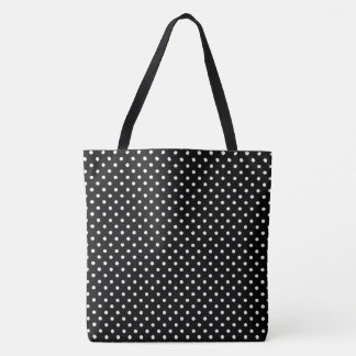 Black And White Polka Dots Pattern Tote Bag