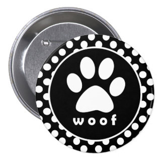 Black and White Polka Dots; Paw Print 7.5 Cm Round Badge