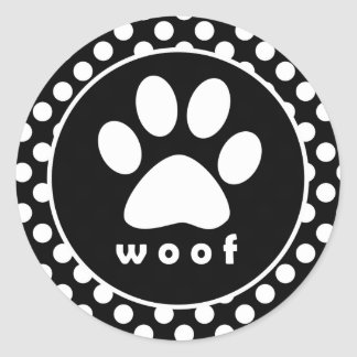 Black and White Polka Dots Paw Print Stickers