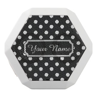 Black and White Polka Dots Personalized Name White Boombot Rex Bluetooth Speaker