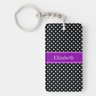 Black and White Polka Dots Purple Name Monogram Double-Sided Rectangular Acrylic Key Ring