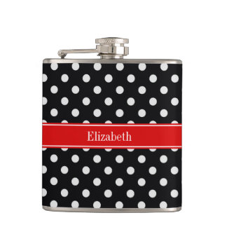 Black and White Polka Dots Red Name Monogram Flasks