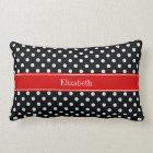Black and White Polka Dots Red Name Monogram Lumbar Cushion