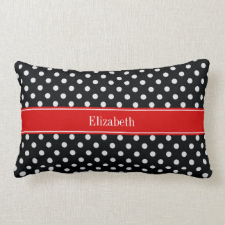 Black and White Polka Dots Red Name Monogram Lumbar Pillow