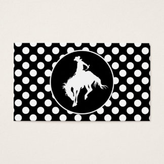 Black and White Polka Dots; Rodeo Cowboy Business Card