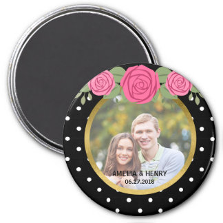 Black and White Polka Dots Roses Wedding Photo 7.5 Cm Round Magnet