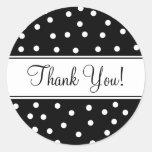 Black and White Polka Dots Round Sticker