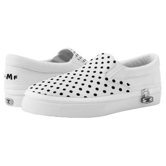 Black and White polka-dots Slip On Shoes