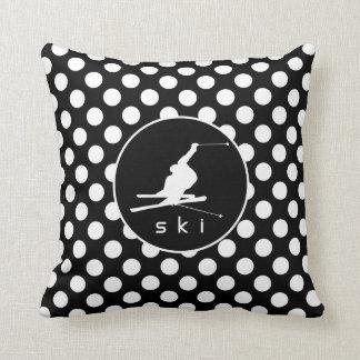 Black and White Polka Dots; Snow Ski Cushion
