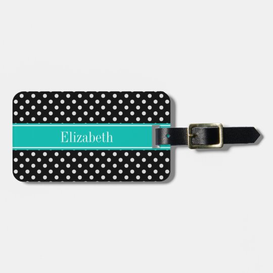 Black and White Polka Dots Teal Name Monogram