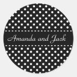 Black and White Polka Dots Wedding Wedding Sticker