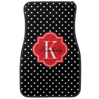 Black and White Polka Dots with Red Monogram Car Mat