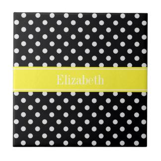 Black and White Polka Dots Yellow Name Monogram Small Square Tile