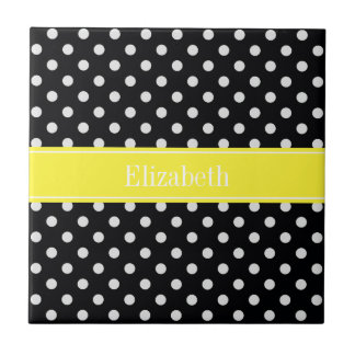 Black and White Polka Dots Yellow Name Monogram Tile