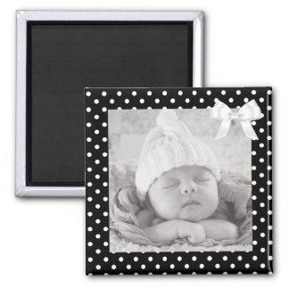 Black and White Polka Dotted Photo Magnet