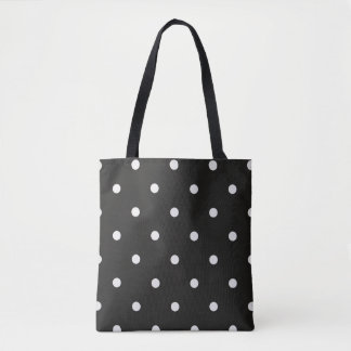 Black and White Polka Dotted Tote Bag