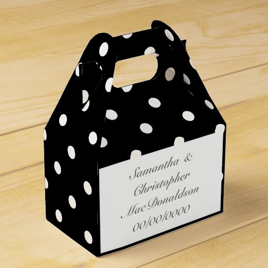 Black and white polkadot pattern wedding favour box