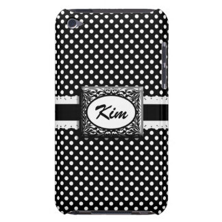 Black and White Polkadots Custom Monogram iPod Touch Case
