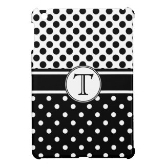 Black and White Polkadots with Monogram iPad Mini Cover