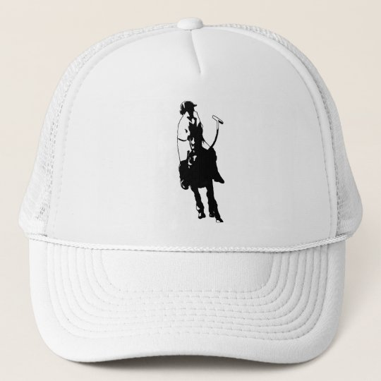 Black and White Polo Player Swinging Mallet Trucker