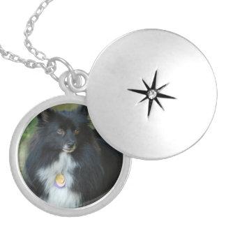 Black and White Pomeranian Round Locket Necklace
