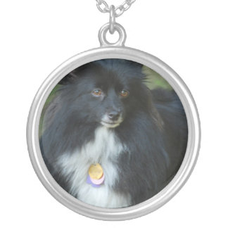Black and White Pomeranian Round Pendant Necklace