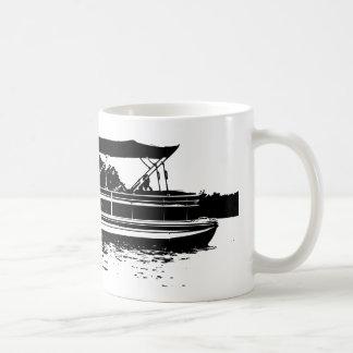 Black and White Pontoon Boat Personalised Mug