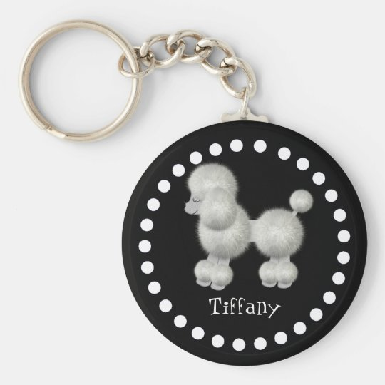 Black and White Poodle Key Chain