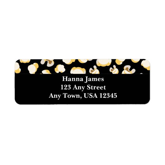 Black and White Popcorn Pattern Personalised Return Address Label
