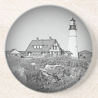 Black And White Portland Head Lighthouse Beverage Coaster