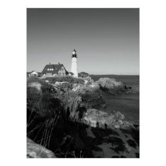 Black And White Portland Head Lighthouse Posters