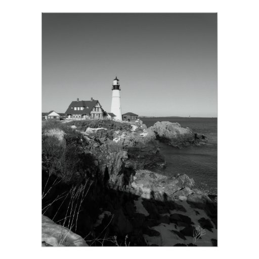 Black And White Portland Head Lighthouse Poster