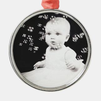 Black and white portrait christmas ornament