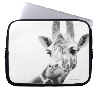 Black and white portrait of a giraffe laptop sleeve