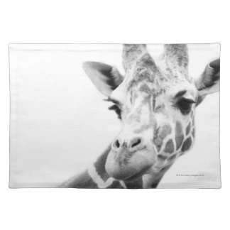 Black and white portrait of a giraffe placemat
