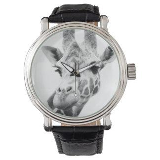 Black and white portrait of a giraffe watch