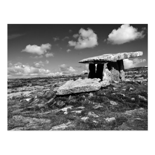 black and white postcard of Poulnabrone co.clare