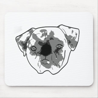 Black and white posterized pug mouse pads